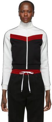 Miu Miu Black Elastic Logo Stripe Zip-Up Sweatshirt