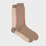 Paul Smith Men's Two-Tone Taupe Vertical Block Socks