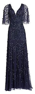 Theia Women's Flutter Sleeve Beaded Gown