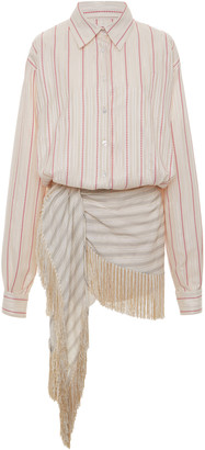 ATTICO Striped Fringed Poplin Mini Dress