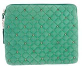 Thomas Wylde Studded Quilted Suede Laptop Case