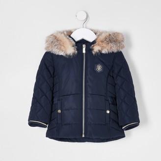 River Island Mini girls Navy padded faux fur hood coat