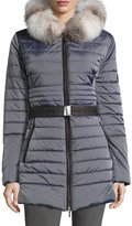 Gorski Fur-Trim Hood Puffer Jacket, Light Gray