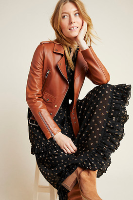 LTH JKT MYA Cropped Leather Moto Jacket By in Brown Size XS