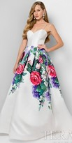 Terani Couture Structured Floral Print A-line Box Pleated Evening Dress