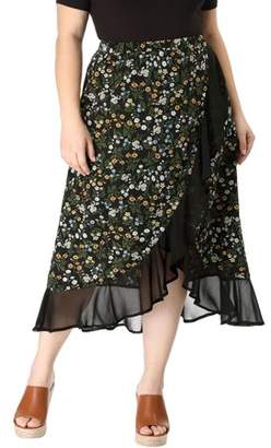 Unique Bargains Women's Plus Size Floral Elastic Waist Ruffle Wrap Midi Skirt Black