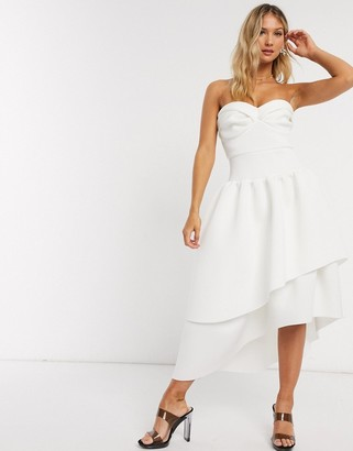 ASOS DESIGN bandeau cup detail midi prom dress with layered skirt in ivory