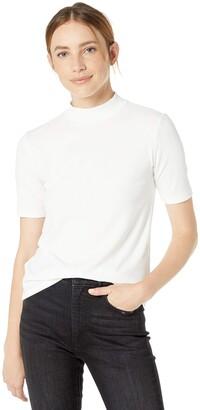 The Drop Women's Joanna Short-Sleeve Mock Neck Ribbed T-Shirt