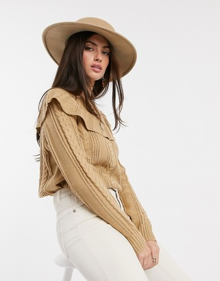 Vero Moda pointelle jumper with ruffle collar in camel