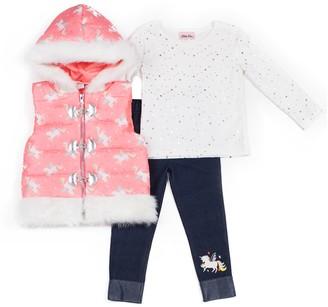 Little Lass Baby Girl Unicorn Puffer Vest, Glitter Top & Jeggings Set