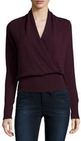 Neiman Marcus Cashmere Faux-Wrap Sweater, Plus Size
