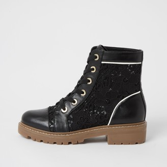 River Island Womens Black lace detail boot