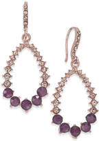 INC International Concepts Rose Gold-Tone Pink Pavé & Purple Stone Drop Earrings, Created for Macy's