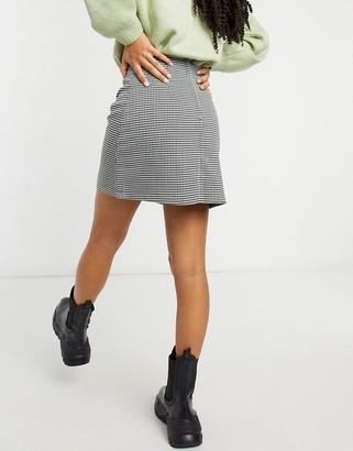 Monki River check print mini skirt in black