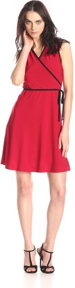 Star Vixen Women's Sleeveless Fauxwrap Dress with Piping