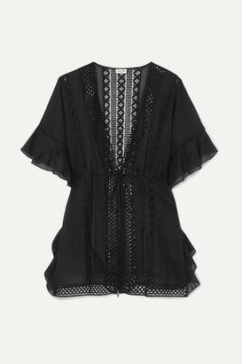 Charo Ruiz Ibiza Frida Crocheted Lace-paneled Cotton-blend Kaftan - Black