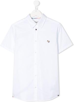 Paul Smith TEEN zebra patch cotton shirt