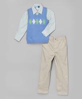 Good Lad Periwinkle Argyle Sweater Vest Set - Boys