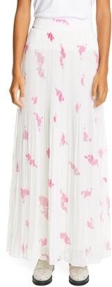 Ganni Rose Print Pleated Georgette Maxi Skirt