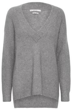 Gestuz BrendaGZ Long V Pullover Grey Melange - Sz XS | wool | silver grey - Silver grey