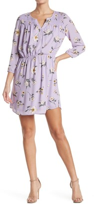Dr2 By Daniel Rainn Split Neck Long Sleeve Floral Print Dress