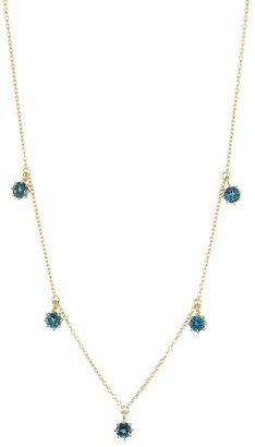 Astley Clarke 14K Yellow Goldplated & London Blue Topaz Station Choker Necklace