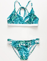 Coral & Reef Aqua Palm Girls Bralette Bikini Set