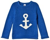 Petit Bateau Blue and Cream Fine Knitted Sweater