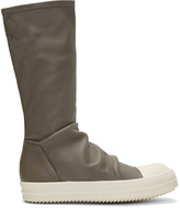 Rick Owens Grey Sock High-Top Sneakers