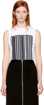 Alexander Wang White Sleeveless Cropped Barcode T-Shirt