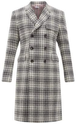Thom Browne Tartan Double-breasted Wool Coat - Mens - Grey