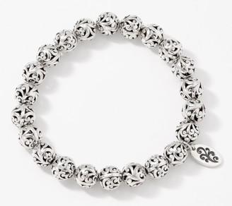 Lois Hill Sterling Silver Carved 8mm Bead Stretch Bracelet, 18.0g