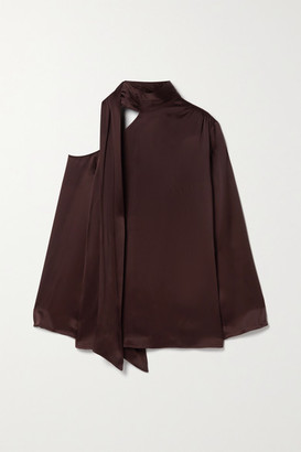 Sally LaPointe Tie-neck Cutout Duchesse-satin Blouse - Chocolate