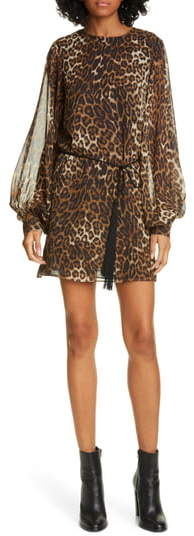 Nili Lotan Rebeca Leopard Print Silk Long Sleeve Minidress