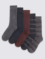Marks And Spencer Marks And Spencer 5 Pairs Of Freshfeettm Stay Soft Cotton Rich Assorted Socks With Silver Technology