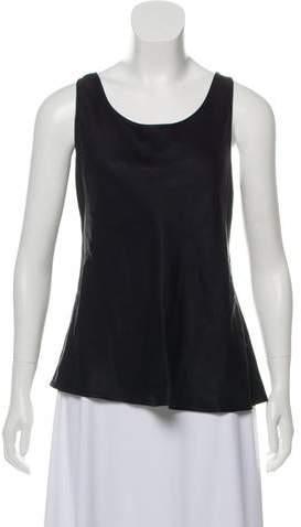 6f825d65b74c Black Satin Sleeveless Tops - ShopStyle