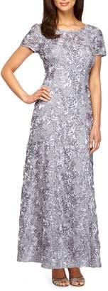 Alex Evenings A-line Rosette Lace Dress