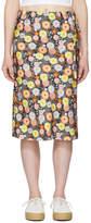 6397 Black Silk Floral Skirt
