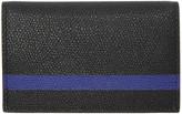Valextra Black & Blue Stripe Business Card Holder