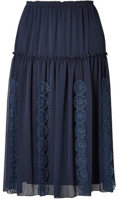 See by Chloe Floral-appliqued Gathered Gauze Skirt