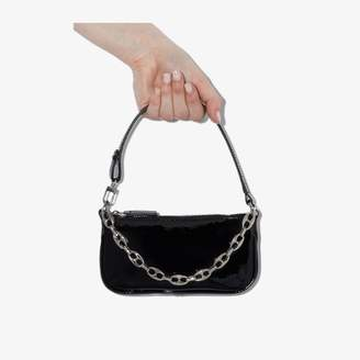 BY FAR black mini Rachel patent leather shoulder bag