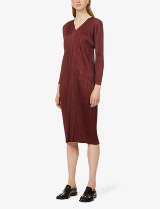 Pleats Please Issey Miyake Monthly V-neck pleated woven midi dress