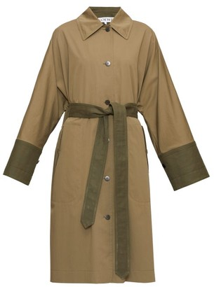 Loewe Panelled Cotton Trench Coat - Womens - Khaki