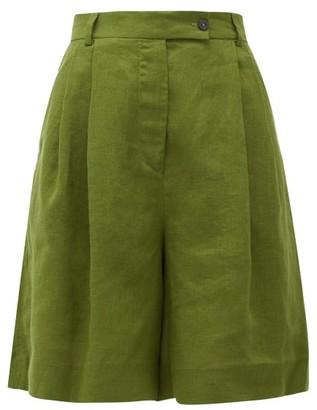 Emilia Wickstead Reggie High-rise Pleated Linen Shorts - Womens - Khaki