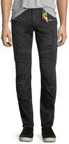 Robin's Jeans Slim-Fit Moto Biker Jeans, Black