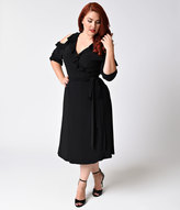Kiyonna Plus Size Black Noir Ruffled Barcelona Wrap Dress