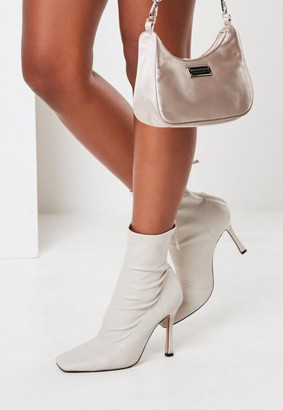 Missguided Cream Square Toe Mid Heel Ankle Boots