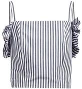 STAUD Nemi Ruffled Cropped Cotton Camisole - Womens - White Navy