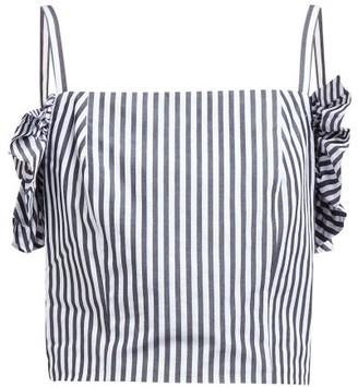 STAUD Nemi Ruffled Cropped Cotton Camisole - White Navy