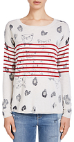 Oui Printed Stripe Jumper, White/Red